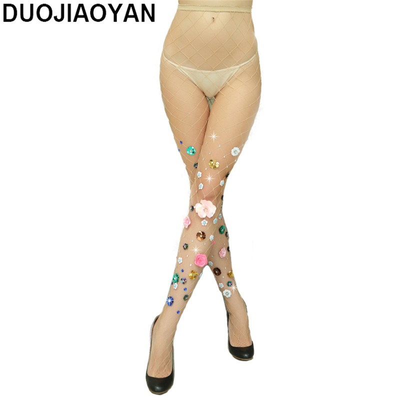 DUOJIAOYAN Hollow Sexy Pantyhose Women Tights Stocking Club Party Hosiery Female Mesh  Fishnet Stockings With Rhinestone Flowers