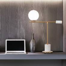 Nordic Design Table Led Lamp Glass Lampshade Light Fixtrues Modern Bedroom Bedside Decor Home Lighting Stone Metal G9 lustre