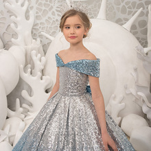 цена на 2019 Princess  Crew Neck A Line Tulle Flower Girl Dresses with  Sequins Sheer Flowers Girls Pageant Go