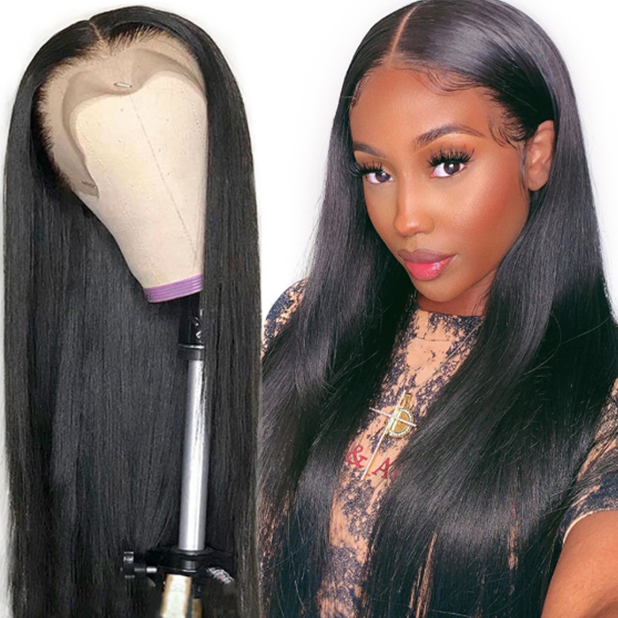 Lace Front Human Hair Wigs Lace Front Wig For Black Women Brazilian Straight Human Hair Wig Pre Plucked Remy Hair Lace Wig
