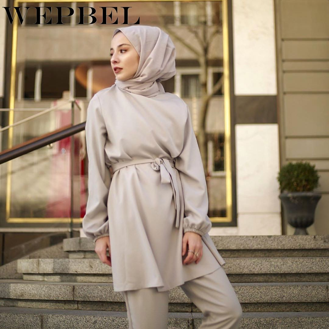 WEPBEL Muslim Clothing Set Women Plus Size Long Dress + Full Length Pants Solid Color Loose Ladies Clothes Sets