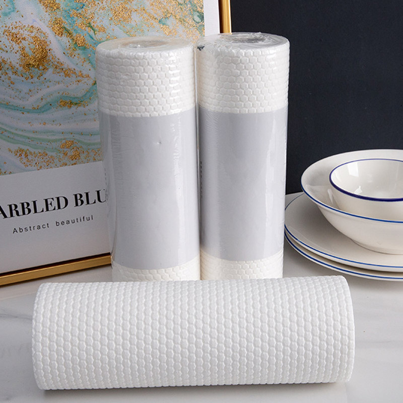 50Pcs/1 Roll Disposable Cleaning Cloths Roll Can Tear Dish Cloth Absorbent Oil Clean Scouring Wash Cloths Lazy Rag Kitchen Paper