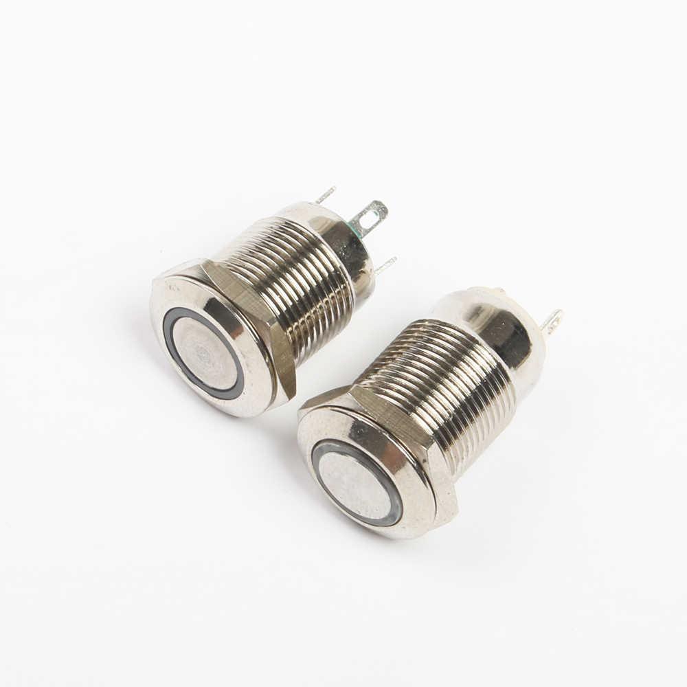 12 мм светодиодный 3 в 5 в 12 В 24 В 220 В металлический кнопочный выключатель без фиксации кнопочный автоматический сброс водонепроницаемое кольцо с подсветкой 12HX