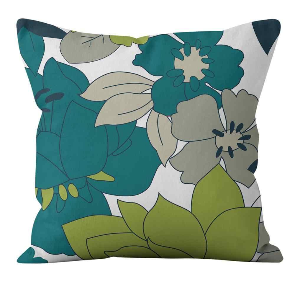 Sarung Bantal 45*45 Cm Kartun Tinta Tanaman Bunga Burung Cetak Sarung Bantal Home Bantal Sofa Sarung Bantal Dekoratif Sarung Bantal