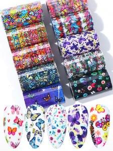 Stickers Foils-Set Manicure-Decorations Nail-Foil Flower Nail-Art-Transfer Holographic