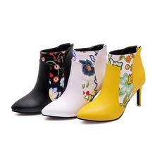 Winter high-heeled pointed print ankle boots sexy fashion shoes stiletto office party 34-48
