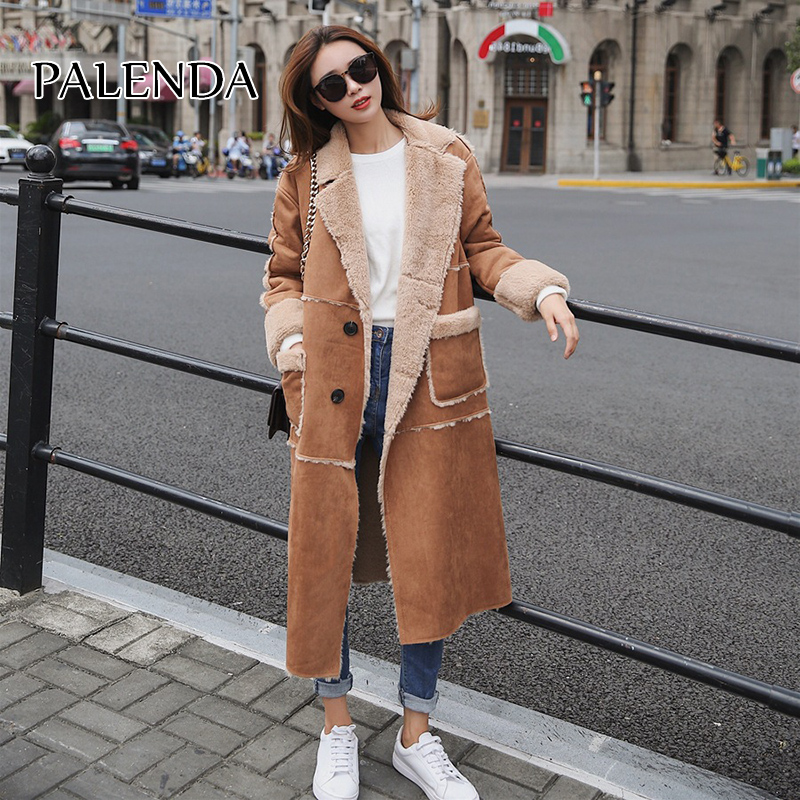 2019 New Women Fashion Long Fur Coat A Knee-length Cotton Overcoat With Deerskin Stitching And Fur