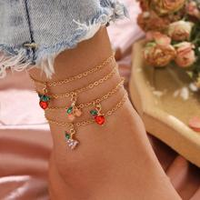 Crystal Anklets Foot-Bracelets Boho Jewelry Multi-Layer Beach-Leg Women Cute for Cherry-Tassel
