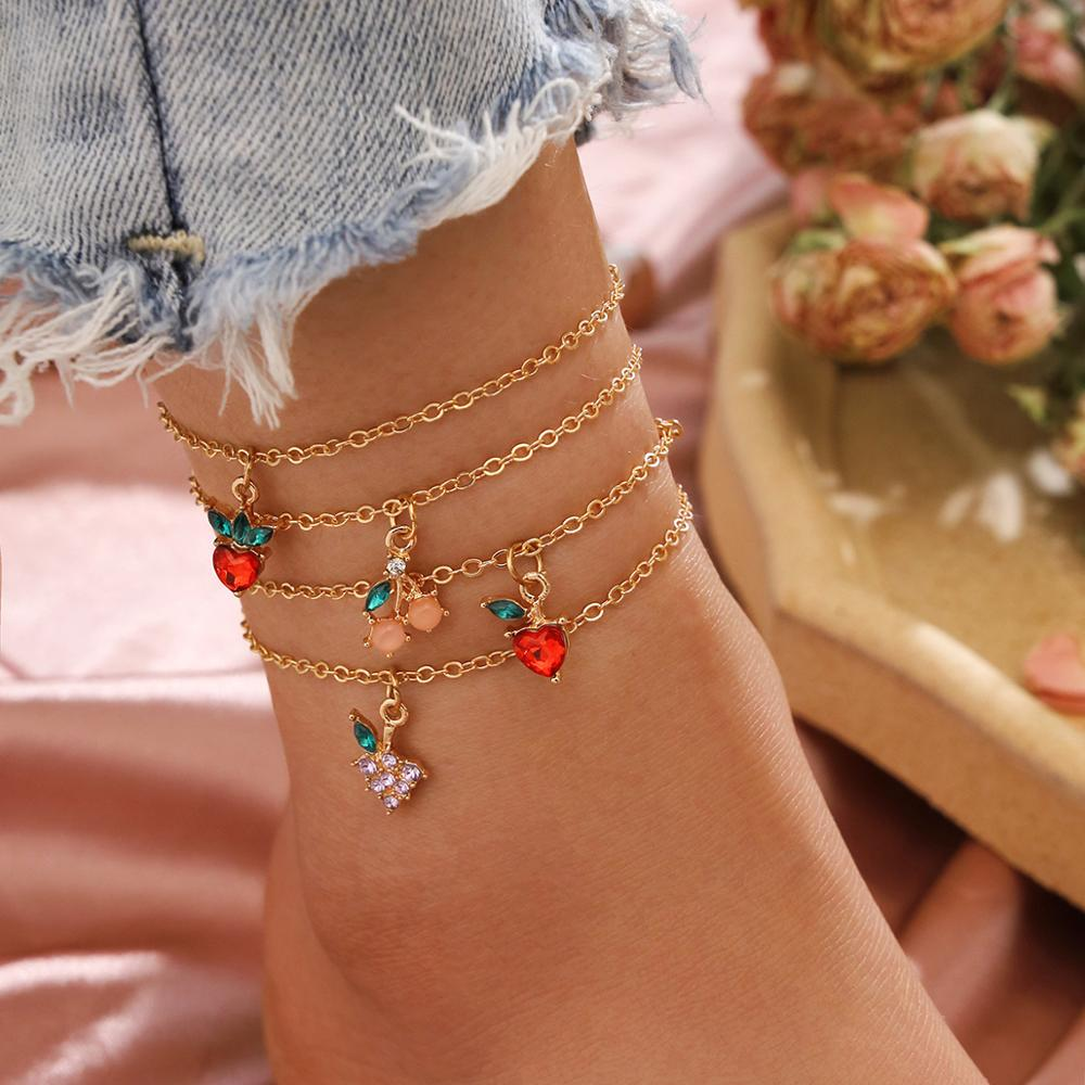 Cute Strawberry Cherry Tassel Ankle Bracelet Multi-Layer Crystal Anklets for Women Beach Leg Foot Bracelets Boho Jewelry