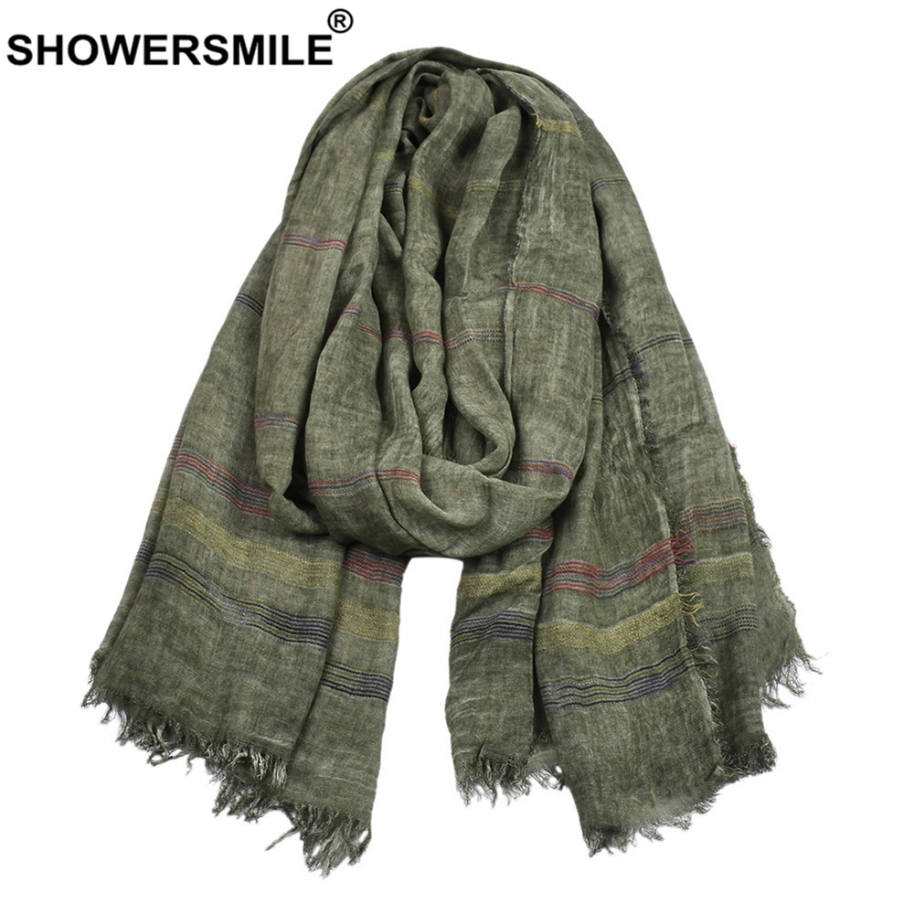 SHOWERSMILE Green Cotton Linen Men Scarves Autumn Winter Winter Accessories For Men Warm Long Fashion Brand Men Scarf Bufanda