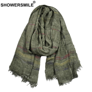SHOWERSMILE Green Cotton Linen Men Scarves Autumn Winter Accessories for Warm Long Fashion Brand Scarf Bufanda