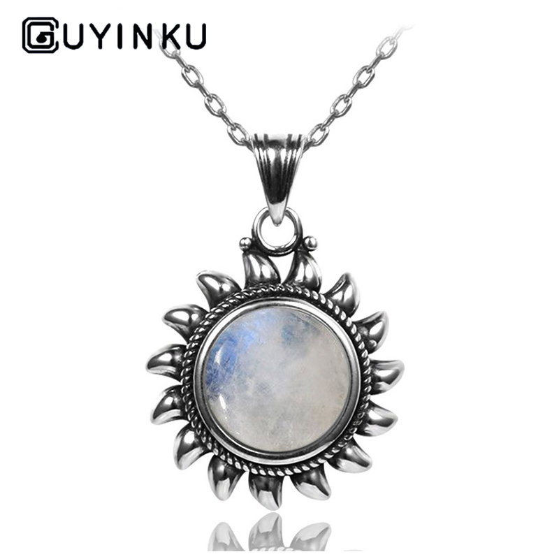 GUYINKU Sun Design 10MM Natural Moonstone 925 Sterling Silver Jewelry Pendants Necklaces For Women Men Vintage Pendants Gifts