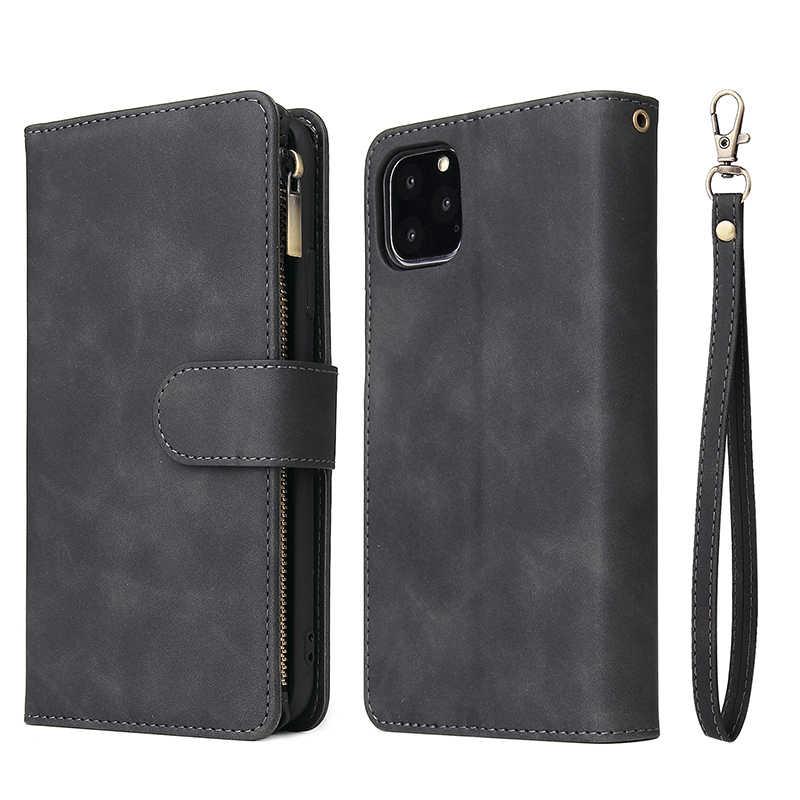 Rits Portemonnee Lederen Telefoon Case Voor Iphone Xs Max X Xr 6 6S 8 7 Plus Flip Case Magnetische case Voor Iphone 12 11 Pro Max Se 2020