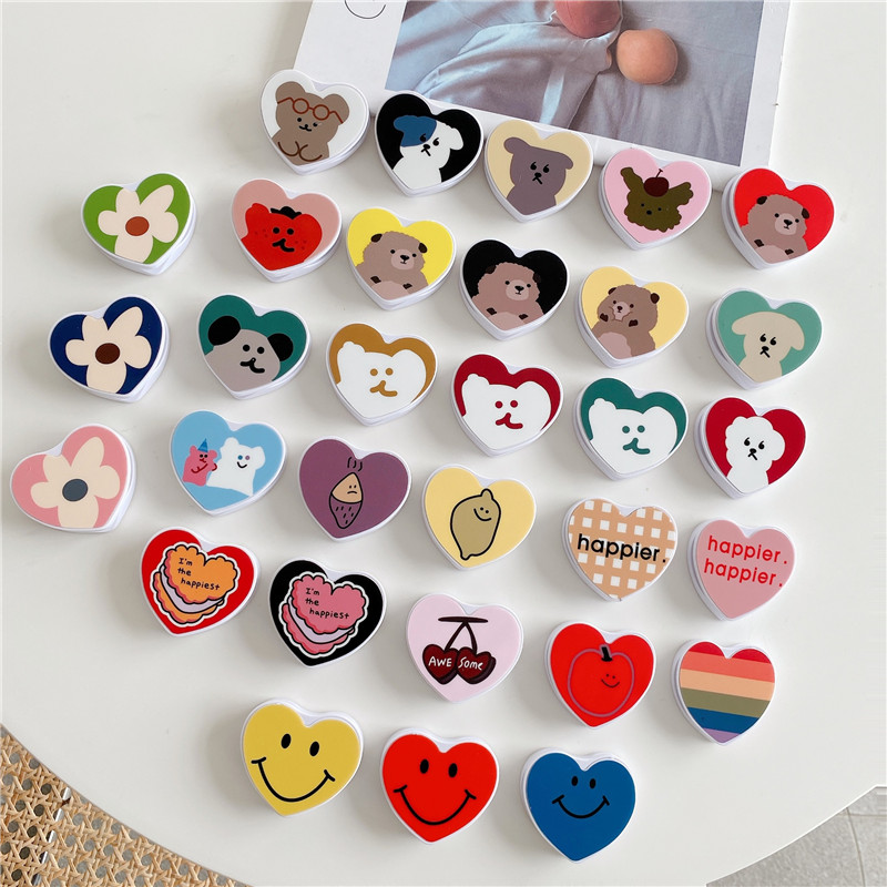 Cute Mobile Phone Heart Folding Stand For IPhone 11 For Samsung For Huawei Case Funny Cartoon 360 Rotation Kichstands Holder