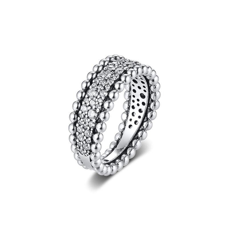 Женские кольца из настоящего стерлингового серебра 925 пробы, Украшенные бусинами, модные ювелирные изделия, подарок на день Святого Валентина