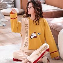 JULYS SONG Frauen Pyjama Set Niedlichen Cartoon Nachtwäsche Herbst Winter Mode Gedruckt Langarm Casual Homewear Weibliche Pyjamas