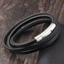 LAMEMDEE-Pulseras de cuero genuino de acero inoxidable para hombre y mujer de pulseras de cuerda trenzada multicapa de joyería