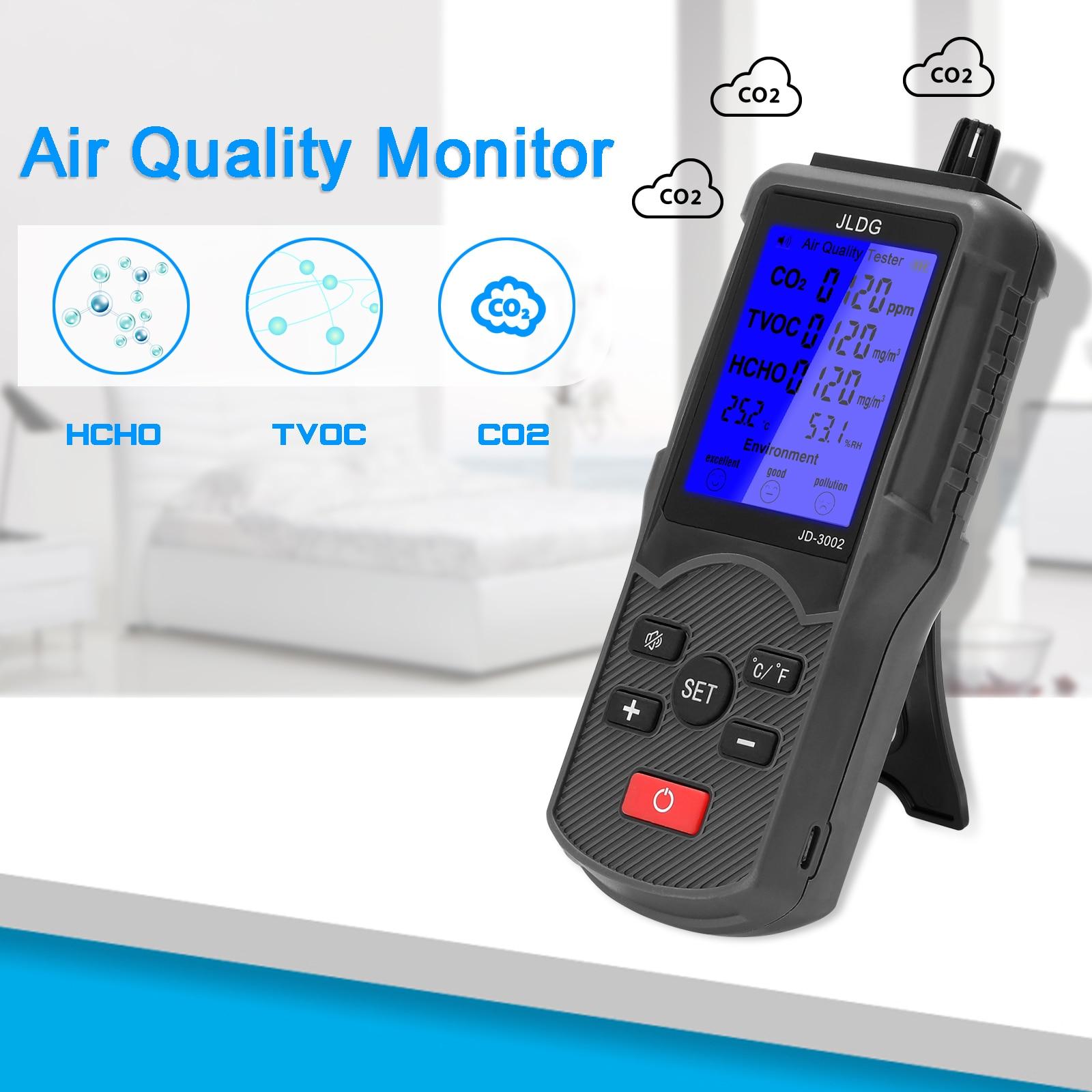 Dijital gaz dedektörü CO2 TVOC HCHO metre hava kalitesi monitör sıcaklık nem ölçüm cihazı hava analizörü LCD ekran