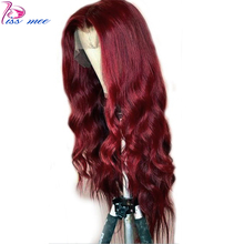 Kissmee 13*4 99J Red Body Wave Lace Wig Burgundy Front Human Hair court Prepluck Natural Hairline Brazilian Remy