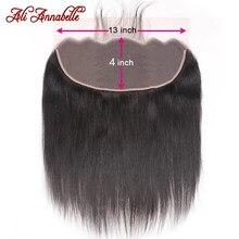 Perruque Lace Frontal wig péruvienne naturelle, cheveux lisses, 13x4, 26 pouces, pre-plucked, brun moyen, avec Baby Hair, Closure 13x4