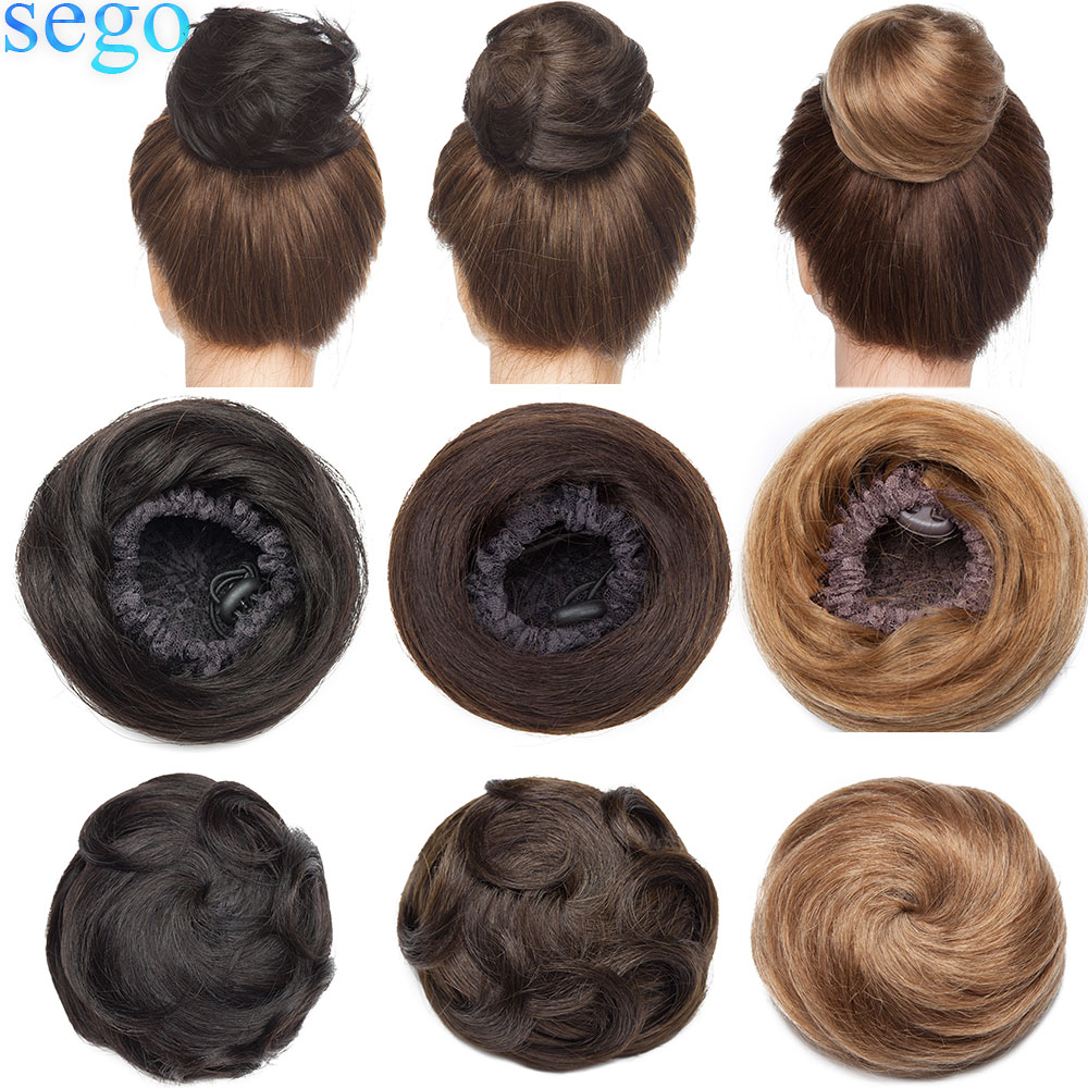 Bundle Hair-Extensions Ponytail Scrunchies Human-Hair Drawstring SEGO Hairpiece Donut-Chignon