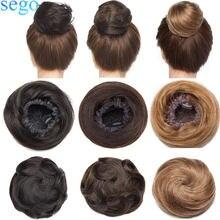 SEGO 23 г, 30 г, 100% Реми человеческие волосы Комплект пучок волос Scrunchies Updos пончик-шиньон волос шнурок конский хвостик шиньон