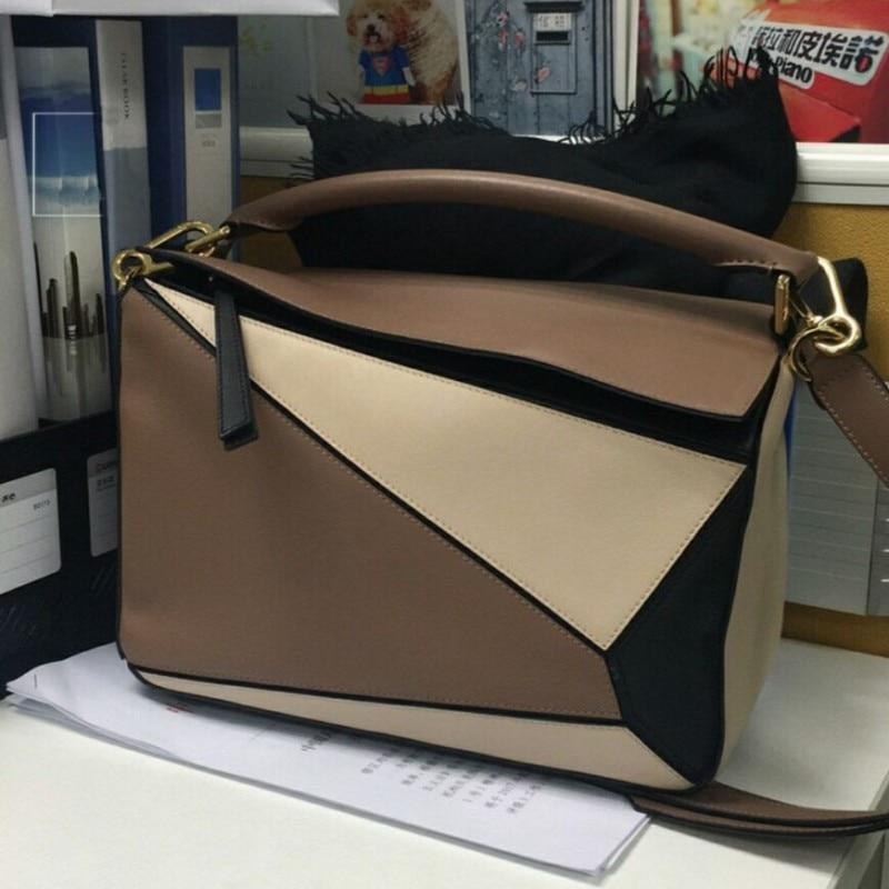 Bolso de mujer de marca con paneles de diseño Real de cuero de vaca suave bolso geométrico para mujer bolsos de hombro con correa larga bolsa de asas - 5