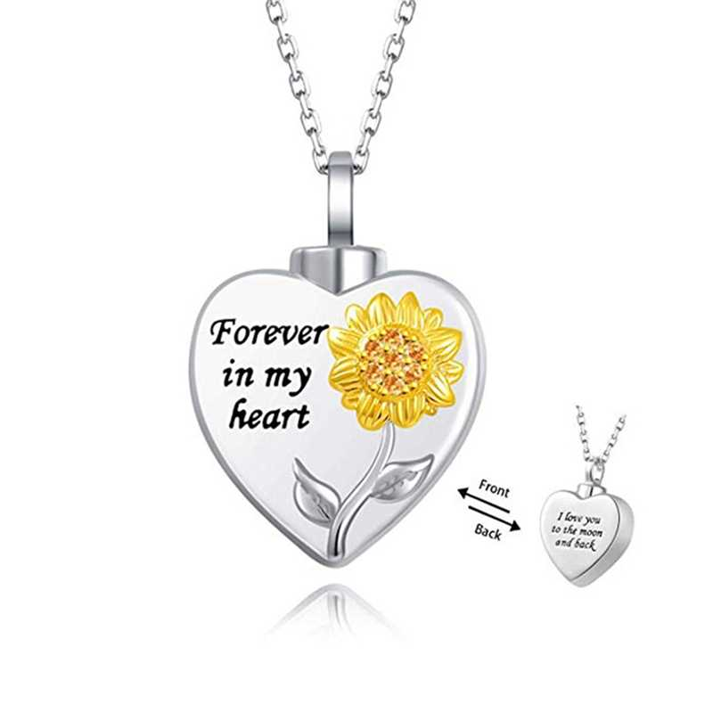Creative Cremation Ash Necklace Silver Heart Pendant Sweater Necklace Carved Forever In My Heart Sunflower Necklace For Women