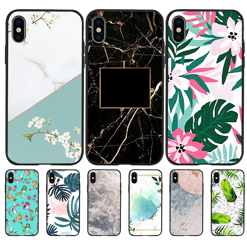 Flower marble pattern luxury For iPhone X XR XS 11 Pro Max 5 5S SE 6 6S 7 8 Plus Oneplus 5T Pro 6T phone Case Cover Coque funda
