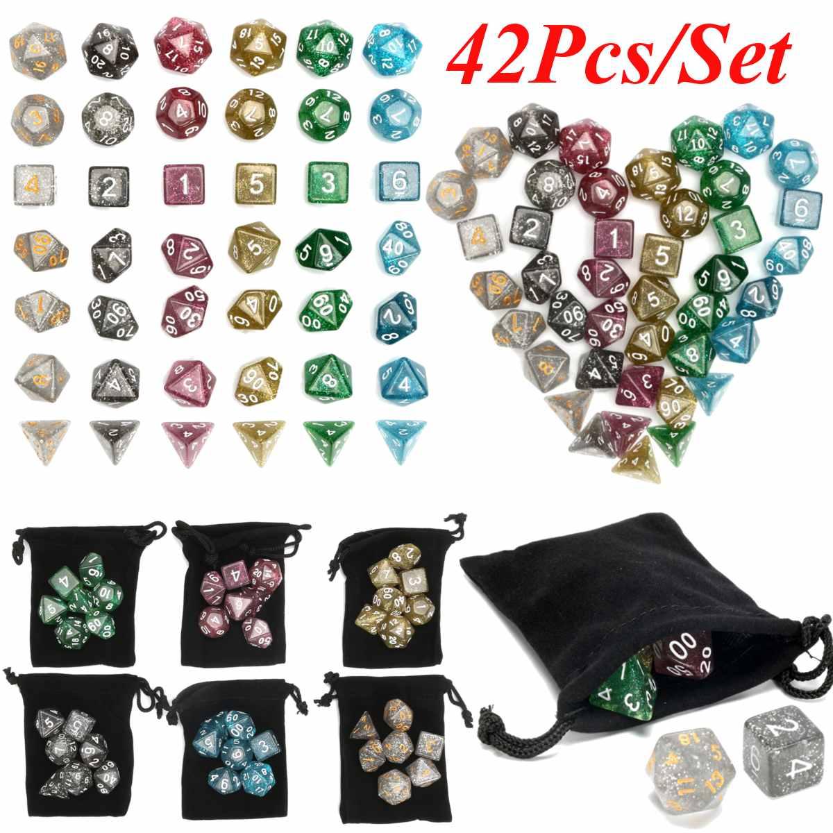 42 pces polyhedral acrílico dados jogo de mesa de tabuleiro com saco cosplay jogos amantes presentes multicolorido cubos com saco para jogos de rpg