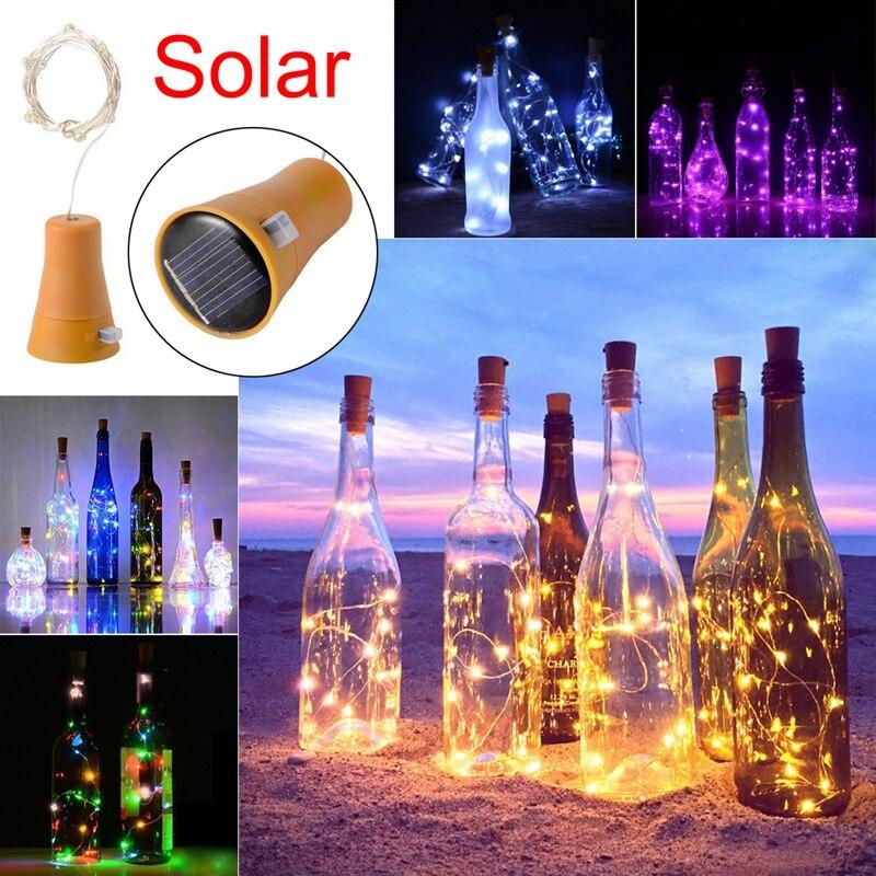 ABUI-1PCS Solar 2M LED Cork Shaped 20 LED Night Fairy String Light Kork Solarbetrieben Licht Wine Bottle Lamp Party Celebration