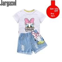 Одежда для девочек, летняя рубашка с мультяшным принтом утки и джинсовые шорты с блестками и потертостями, комплект одежды для маленьких девочек, детская одежда