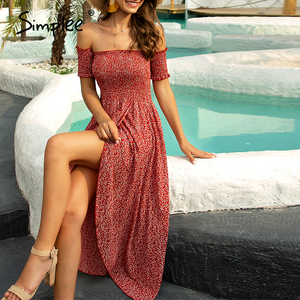 Image 1 - Simplee Sexy off shoulder women dress Floral print ruched high waist red party tube dress Casual beach maxi retro summer dress