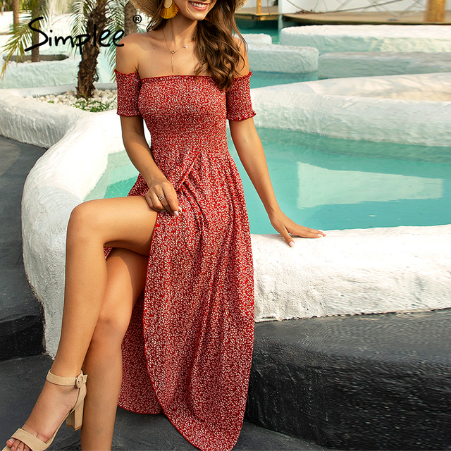 Simplee Sexy off shoulder women dress Floral print ruched high waist red party tube dress Casual beach maxi retro summer dress