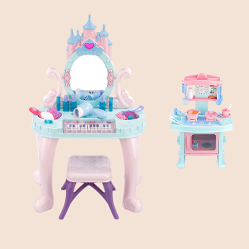 H1 Children's Toys Girls Play House Dressing Table Dressing Table Princess Makeup Box Set Girls Toys 3-6 Years Old Pink Cheap