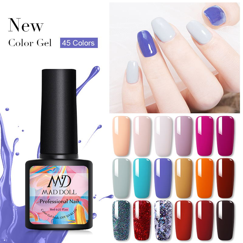 MAD DOLL 8ML Nail Gel Autumn Winter Series Colorful Soak Off UV Gel Varnish Semi Permanent Nail Art DIY Design Glue Gel Varnish