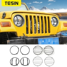 Okapy Lamp TESIN dla Jeep Wrangler TJ 1997 2006 metalowy samochód przedni reflektor oprawa lampy dekoracyjne pokrycie akcesoria samochodowe stylizacja