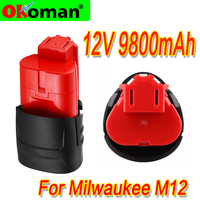 High capacity 12V 9800mAh LI-ION battery Rechargeable Power Tool Battery For Milwaukee M12 48-11-2401 48-11-2440 L50