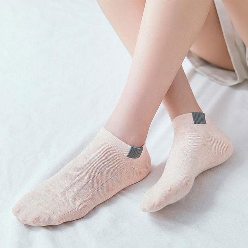 [DINGDNSHOW] 2020 Fashion Socks Women Cotton Casual Dark Pattern Socks Solid Color Short Socks 5 Pcs