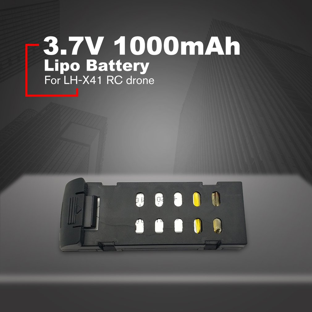 Pcs <font><b>3.7V</b></font> <font><b>1000mAh</b></font> <font><b>Lipo</b></font> Battery for LH-X41 RC Drone Spare Part Large Capacity Battery Replacement Lithium Battery image