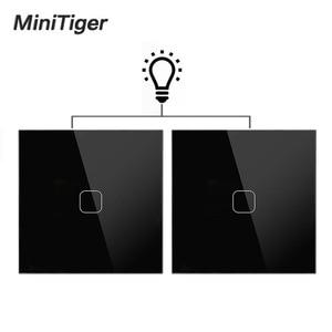 Minitiger EU Standard Wall Light Touch Switch 1 Gang 2 Way Control Wall Light Touch Screen Switch, Crystal Glass Panel