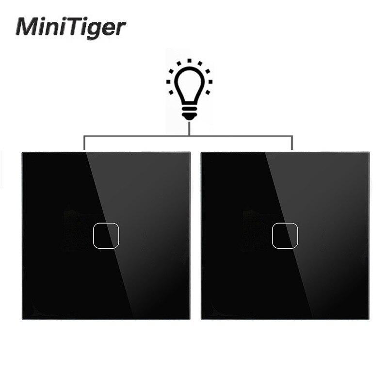 Minitiger EU Standard Wand Licht Touch Schalter 1 Gang 2 Way Control Wand Licht Touchscreen Schalter, kristall Glas Panel|Schalter|   -
