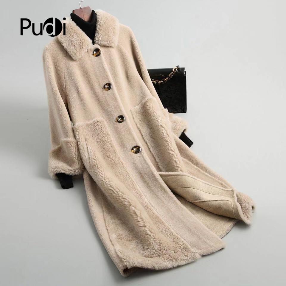 PUDI A18212 kobiety zima prawdziwe wełny strzyżenie lapel płaszcz ciepła kurtka dziewczyna płaszcz pani długa kurtka płaszcz w Prawdziwe futro od Odzież damska na  Grupa 1