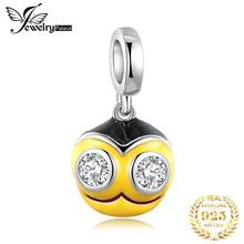 JewelryPalace White Cubic Zirconia Black And Yellow Enamel Cartoon Bee Head Bead Charm Fit Bracelets For Women New Hot Sale(China)