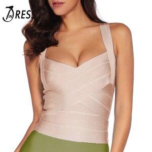 Image 5 - INDRESSME Camiseta elástica con tirantes finos para mujer, ropa ajustada con cuello en V, sin mangas, 2020
