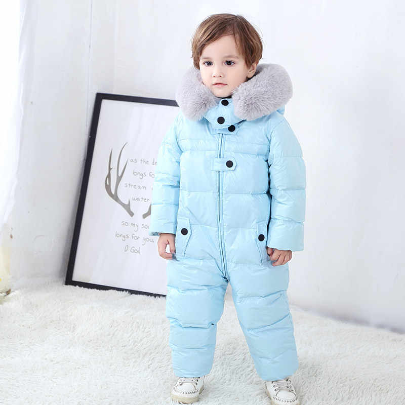 -30 degrees winter kids thick down coat Children's Siamese down jackets Boys windproof ski suit Girls waterproof Snowsuit 18M-4T