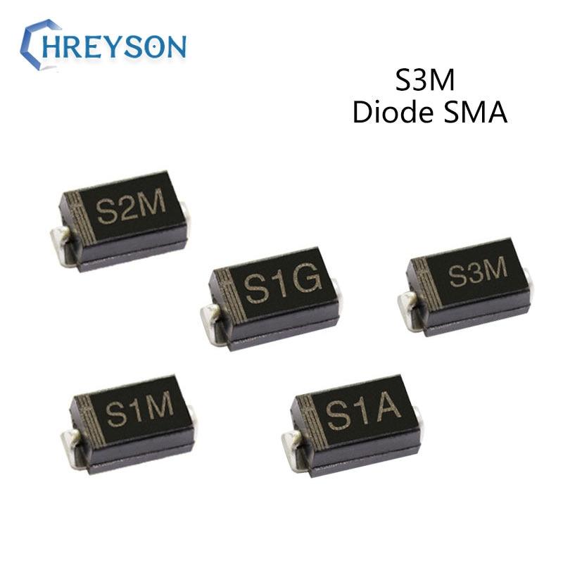 50 шт. SMD выпрямительный диод S1A S3M S1D S1G S2M S1M 3A с алюминиевой крышкой, 50В 100V 200V 400V 600V 800V 1000V DO-214AC SMA