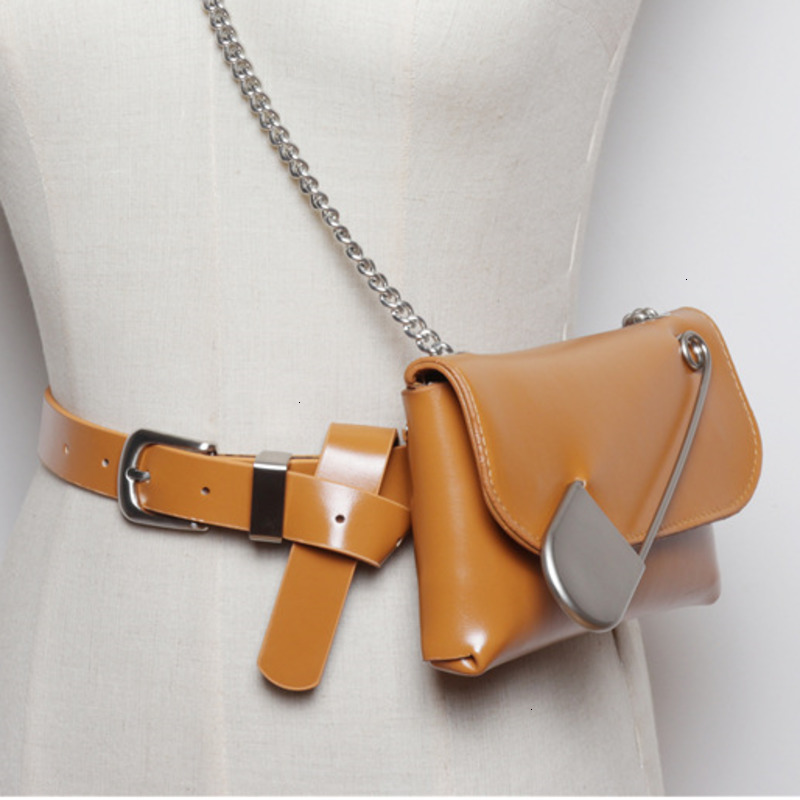 LANMREM 2020 Fashion Concave Shape Pin Decorative Waist Bag Female Detachable Belt Chain Shoulder Messenger Bag PC217