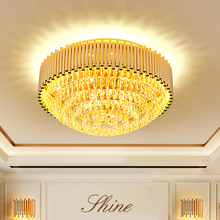 Modern K9 Crystal Ceiling Lights Fixture LED Light American Golden Round Ceiling Lamp Living Room Bedroom Home Indoor Lighting modern minimalist golden led circular living room crystal lamp creative lamps atmospheric luxury hall ceiling lighting fixture