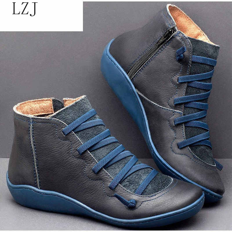 2019 Women PU Leather Ankle Boots Women Autumn Winter Cross Strappy Vintage Women Punk Boots Flat Ladies Shoes Woman Botas Mujer